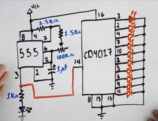 Secuencia de luces Led con 555 y CD 4017