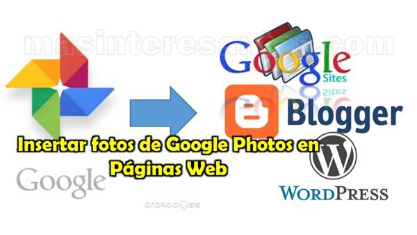 Insertar fotos de Google Photos en páginas web