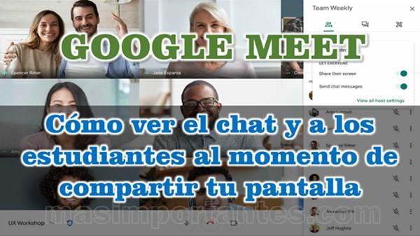 Cómo ver el chat u alumnos en Meet